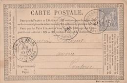 Yvert 77 Sage Entier Carte Précurseur ECOUEN Seine Inférieure 18/5/1877 à Pontoise - Cartes Précurseurs