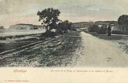 Hendaye La Route De La Plage Du Sanatorium Et Le Chateau D'Abadie Colorisée RV - Hendaye