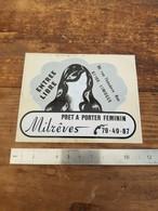 Sticker Autocollant Ancien - Prêt à Porter Féminin - Limoges - Milrêves - Boutique Magasin - Autocollants