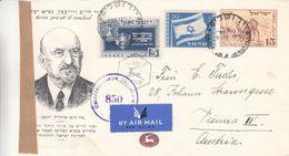 Israël - Lettre De 1949 - Entiers Postaux - Oblit Jerusalem - Exp Vers Vienne - Avec Censure - Drapeaux - - Israel