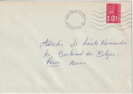 France Annulation Arrivée Sur 1fr Becquet Rouen RP Secap 5 Lignes Couronne évidée - Marcophilie (Lettres)