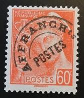 """France Préoblitérés Yv. 83 B VARIÉTÉ """"PETIT T"""" ** LUXE Neuf Sans Charniére, 1938-41 Type Mercure 60c (MNH VARIETY) - Precancels"""