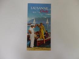 Dépliant Touristique Lausanne Ouchy Suisse. - Folletos Turísticos