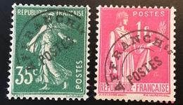 """France Préoblitérés Yv. 63 B +76 B VARIÉTÉ """"PETIT T"""" *, ** 1937-39 35c Semeuse + 1f Paix   (VARIETY) - 1893-1947"""