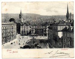 CPA DOUBLE   GRUSS AUS ZÜRICH     1901       PARADEPLATZ     HOTEL BAUR - ZH Zurich