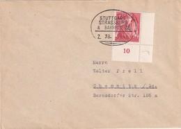 ALLEMAGNE 1943 LETTRE POUR CHEMNITZ  CACHET FERROVIAIRE/ZUGSTEMPEL STUTTGART-STRASSBURG - Storia Postale