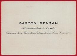 """Carte De Visite GASTON BENSAN Administrateur De (journal) """"CE SOIR"""" (Parti Communiste) Trésorier Fédération Presse - Visitenkarten"""