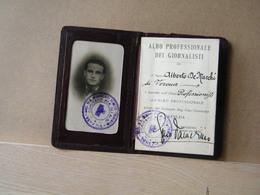 MONDOSORPRESA, 1930, TESSERA ALBO PROFESSIONALE DEI GIORNALISTI - SINDACATO REG. FASCISTA - Documenti Storici