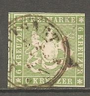 WURTEM - Yv. N° 8 MI. N° 8  Fil De Soie  (o)  6k  Vert  Cote 70 Euro BE R 2 Scans - Wurttemberg