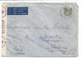 HELVETIA 40C GENEVE 8.IX.1941 LETTRE COVER AVION GRECE CENSURE NAZI + ZURUCK RETOUR INADMISSIBLE - Suisse