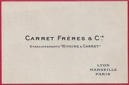 """Carte De Visite Commerciale CARRET FRERES & Cie Etablissements """"Rivoire & Carret"""" Lyon Marseille Paris - Visiting Cards"""