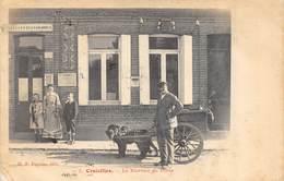 CPA 62 CROISILLES LE BUREAU DE POSTE Animée Attelage Avec Deux Chiens  1904  Rare - Croisilles