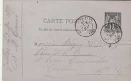 Yvert 89 CP5 Sage ( Couleur Plutôt Grise ) GAILLAC DU TARN 3/5/1879 à Toulouse Haute Garonne - Ganzsachen