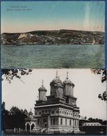 ROUMANIE- 2 Cartes ( Monastere Curtea De Arges, Balcic Vue Du Port)   CPA - Rumänien