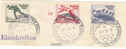 REICH JEUX OLYMPIQUES 1936  3 TIMBRES 559 + 560 + 561+ SUR 1 FRAGMENT - Germania