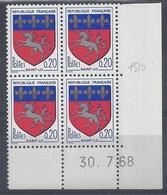 BLASON SAINT-LÔ N° 1510 - Bloc De 4 COIN DATE - NEUF SANS CHARNIERE - 30/7/68 - 1960-1969