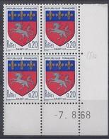 BLASON SAINT-LÔ N° 1510 - Bloc De 4 COIN DATE - NEUF SANS CHARNIERE - 7/8/68 - 1960-1969