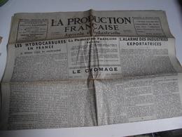 La Production Française,agricole Et Industrielle, Journal, 1 Er Oct 1933 - Journaux - Quotidiens