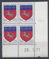 BLASON SAINT-LÔ N° 1510 - Bloc De 4 COIN DATE - NEUF SANS CHARNIERE - 26/1/71 - 1960-1969