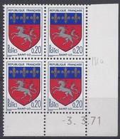 BLASON SAINT-LÔ N° 1510 - Bloc De 4 COIN DATE - NEUF SANS CHARNIERE - 3/3/71 - Esquina Con Fecha