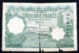 624-Tunisie Billet De 50 Francs 1929 W1039, Déchiré   RARE - Tunisia