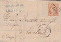 Yvert 38 Cérès Double Port  Lettre Entête Maraval LAVAUR Tarn 3/10/1871 GC 1989 à Lavelanet Ariège Passe Castelnaudary - 1849-1876: Classic Period
