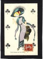 CPA Jeu De Cartes Carte à Jouer Playing Cards écrite Femme Girl Woman Mode Chapeau Fourrure - Cartes à Jouer