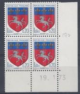 BLASON SAINT-LÔ N° 1510c - Bloc De 4 COIN DATE - NEUF SANS CHARNIERE - 19/1/73 - 1960-1969