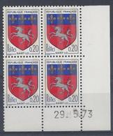 BLASON SAINT-LÔ N° 1510c - Bloc De 4 COIN DATE - NEUF SANS CHARNIERE - 29/5/73 - 1960-1969