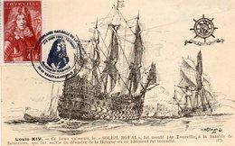 """Vaisseau Le """"Soleil Royal"""" - Cachet Tricentenaire Bataille De La Hougue - Saint Vaast La Hougue - Timbre Tourville - Saint Vaast La Hougue"""