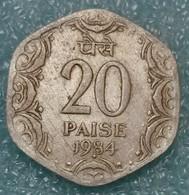 """India 20 Paise, 1984 Mintmark """"*"""" - Hyderabad -2235 - Inde"""