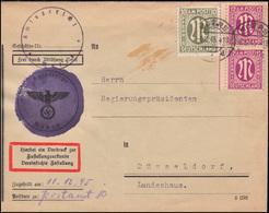 7+29 AM-Post Auf Zustellungsurkunde Amtsgericht MOERS 6.12.1945 Nach Düsseldorf - Bizone