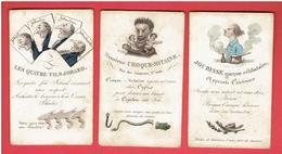 LOT 3 CARTES HUMORISTIQUES XIXe COLORISEES MONSIEUR CROQUE MITAINE JOCRISSE GARCON CELIBATAIRE ET LES QUATRE FILS JOBARD - Cartes à Jouer