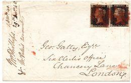 Busta Con 2 Penny Black Viaggiata Hastings -> London 1840 - Briefe U. Dokumente