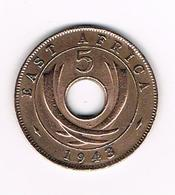 //  EAST  AFRICA  5 CENTS   1943 - Colonies