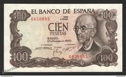 Banknote Spain -  100 Pesetas – Novmeber 1970 – Manuel De Falla, Music Composer - Condition UNC - Pick 152a - [ 3] 1936-1975 : Régimen De Franco