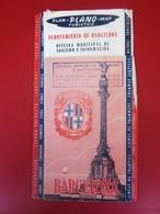1950 GUIA PLAN PLANO MAP CARTE  TURISTICO DE BARCELONA ESPAÑA-OFICINA TURISMO E INFORMACION-HOTELS PENSION-METRO-SUBWAY- - Folletos Turísticos