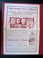 DUELO AL SOL-1954 TEATRO PRINCIPAL CINÉMA FIESTA MAYOR-VILAFRANCA BEL PANADE-COLOSAL EXTRAORDINARIO Y GRANDIOSE PROGRAMA - Programas