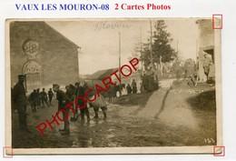 VAUX LES MOURON-Prisonniers-Nettoyage Des Rues--2x CARTES PHOTOS Allemandes-GUERRE 14-18-1WK-France-08- - France