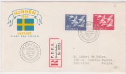 Sweden Registered FDC 1956 NORDEN  (G100-32) - Organisations