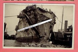 PHOTOGRAPHIE HMS HAWKE AFTER COLLISION WITH OLYMPIC 20 SEPT. 1911 CROISEUR ANGLAIS DE LA NAVY 1891 1914 - Boats