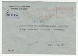 Komercijalna Banka Kotara Split Meter Stamp On Company Letter Cover Travelled 1962 To Zagreb B190615 - Kroatien