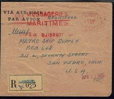 Côte Des Somalis - Messageries Maritimes Djibouti 6-IV-55 - Oblitération E.M.A. 138 F, Env. Recommandée Pour San Pédro - - Storia Postale