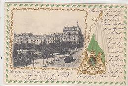 Gruss Aus Plauen - Albertplatz - Prägelitho - 1902         (A-87-160423) - Allemagne