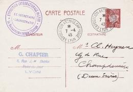 OBLIT. TEMPORAIRE EXPO ANTIBOLCHEVIQUE LYON 7.4.43 Sur ENTIER PETAIN - Marcophily (detached Stamps)