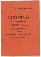 Aanspraak 2 Maart 1915 - Kard. Mercier Ter Nagedachtenis Van Den Heer H. Van Bladel Pastoor Herent - Voir Scan - Historical Documents