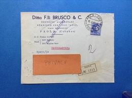 MICHELANGIOLESCA 115 SU BUSTA PUBBLICITARIA RACCOMANDATA DEPOSITO ALIMENTARI STAZIONE SERVIZIO AGIP F.LLI BRUSCO PAOLA - 6. 1946-.. Republic