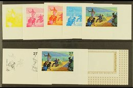 1973 EXPLORATION OF AFRICA BY STANLEY AND LIVINGSTONE  Set Of Eight IMPERF PROGRESSIVE PROOFS For The 27f Air Value (as  - Burundi