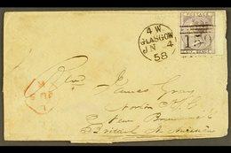 1858  (4 Jun) Env From Scotland To New Brunswick Bearing GB 6d 'no Corner Letters' Stamp Tied Glasgow Pmk & London Trans - New Brunswick
