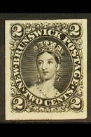 1863  2c Chalon Portrait IMPERF PLATE PROOF In Black On India Paper. For More Images, Please Visit Http://www.sandafayre - New Brunswick